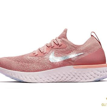 Nike Epic React Flyknit + Crystals - Rust Pink