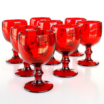 Vintage Glassware Chunky Red Goblets Set of 8