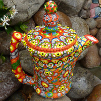 "UPcycled Vintage Chocolate Pot Tea Pot, ""Wild Whimsy"""