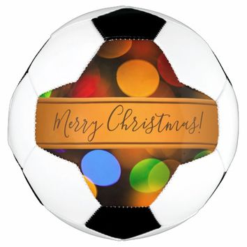 Multicolored Christmas lights. Add text or name. Soccer Ball