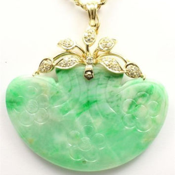 GENUINE NATURAL GREEN JADE JADEITE & DIAMOND PENDANT IN 14K YELLOW GOLD