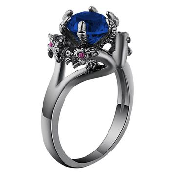 UFOORO Vintage Cubic Zirconia Black Dragon Rings Jewelry Antique Silver Color Retro Women Men Claw Rings For Party Bijoux Aneis