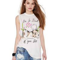 White Muscle Tee with Animal & Floral Print