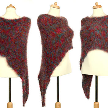 Knitted Poncho - Multicolor Convertible Accessory Made Of Recycled Yarn