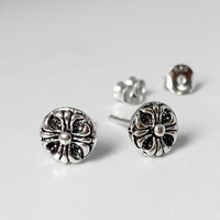 925 Sterling Silver Chrome Hearts Symbol Stud Earrings, Oxidized Stud Earrings, Celtic Stud Earrings, Celtic Cross Stud Earrings, Celtic