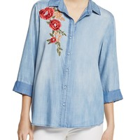 AQUAButton Down Embroidered Chambray Shirt - 100% Exclusive