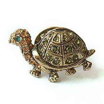 Platinum-Plated Swarovski Crystal Turtle Design Brooch/Pin (1/2 x 1/2) - Gift Boxed