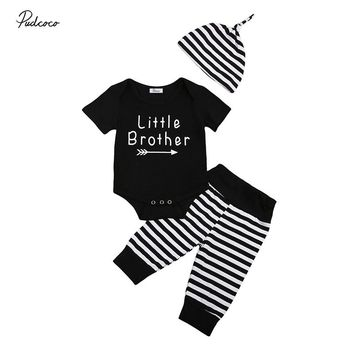 Little Brother 3PCS Newborn Baby Boy Clothes Short Sleeve Black Romper Tops+Striped Pant Hat Outfit Toddler Kids Clothing Set