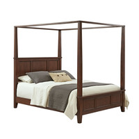 King Size Modern Classic Canopy Bed In Cherry Wood Finish