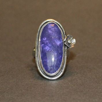 tanzanite cabochon ring -  tanzanite and diamond ring - natural tanzanite ring - plus size tanzanite ring - large tanzanite ring