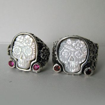 Day of the Dead Sugar Skulls Rings His and Hers by RXVrings