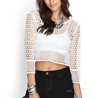 FOREVER 21 Boxy Crochet Top Cream