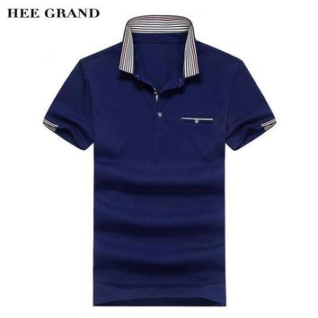 HEE GRAND Men Short Sleeve Polo Shirt 2017 New Striped Turn-Down Collar 100% Cotton Breathable Material Male Polo Shirts MTP433