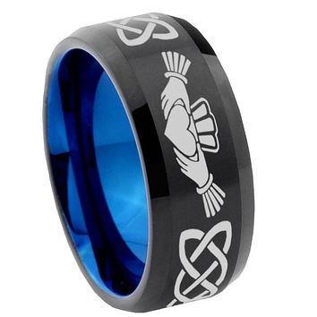 8mm Irish Claddagh Bevel Tungsten Carbide Blue Mens Promise Ring