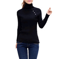 Black  Button Turtleneck  Long Sleeve Knitted Pullover Sweater