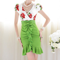 Flowers tight Bow Dress J707EF
