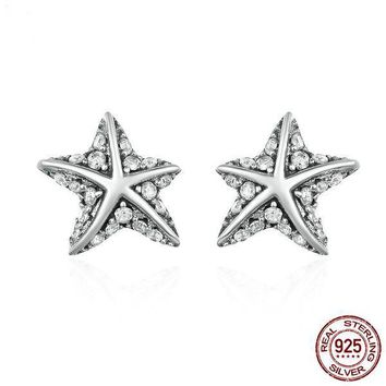925 Sterling Silver Star Tropical Starfish Clear CZ Stud Earrings