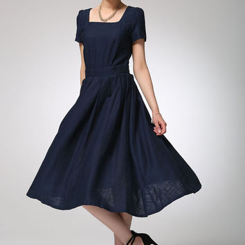 Navy blue linen dress midi women dress (1261)