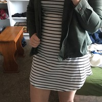 Black and White Striped V-neck Short from Western Moon